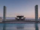 Ceremonial CourtThis open air facility designed by award-winning Japanese architect Arata Isozaki features an illuminated walkway and a reflecting pool.
