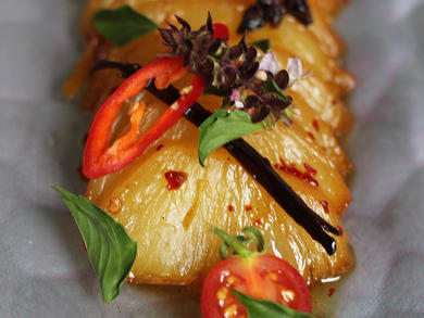 Recipe: roasted pineapple with chilli and ginger